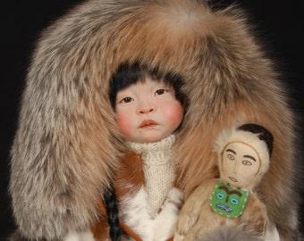 "YUPIK Native American Art Doll ""AKIAK"" by Lynn Cartwright  - 32"" tall"