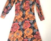 Vintage Orange Floral Maxi Dress Vintage Orange Pink Gray Black Poppy Hostess Dress Button Front Long Sleeves XL