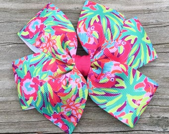 Lilly Pulitzer Hair Bow, Lulu Flamingo Hair Bow, Lilly P Hair Bow, Flamingo Hair Bow, Girls Hair Bows, Lilly Pulitzer Inspired Hair Bow