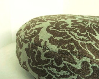 Dog Bed Cover   Sea Green and Chocolate Brown Upholstery   28 round