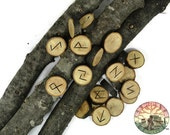 Oak wood Rune Set (Silver Leaf Oak) Elder Futhark with Manual & Pouch Hand Carved