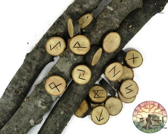 Silver Leaf Oak wood Rune Set  Elder Futhark with Manual & Pouch Hand Carved