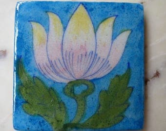 """6 Ceramic TILES Hand Painted Wall Art INDIA 3"""" x 3"""""""