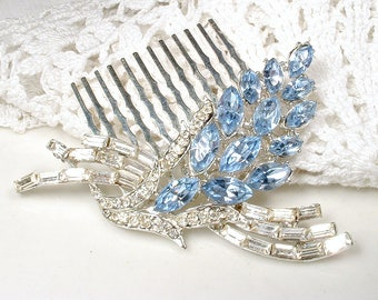 OOAK Powder Blue Bridal Hair Comb, Vintage Dusty Blue Rhinestone Hair Accessory, Something Blue Old Baby Blue Hairpiece, 1950s Wedding