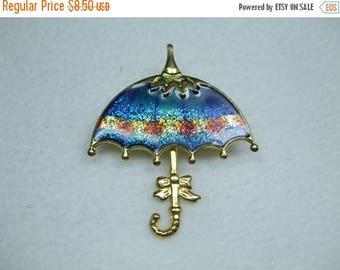 SALE 50% OFF Vintage Umbrella brooch Multi Glitter Colored
