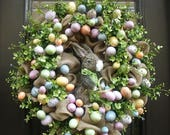 Easter Egg Wreath, Easter Bunny Wreath, Easter Wreath, Easter Door Wreath, Etsy Easter Decor, Burlap Easter Wreath, Easter Decorations