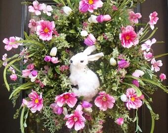 Easter Bunny Wreath, Bunny Wreath, Easter Door Wreath, Pink Easter Decorations, Easter Wreath, Easter Door Decor