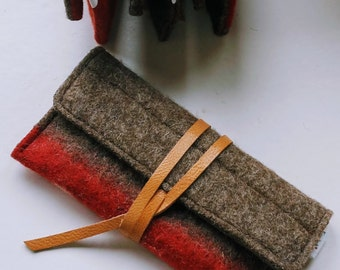 Unique Swiss Army wool leather case-multi functional-sunglasses-cell phone-pencils-make up -handmade-durable-eco friendly-great gift