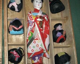 Vintage Japanese Asian Hanako Japan Toy Doll +6 Wigs Original Wood Box Geisha