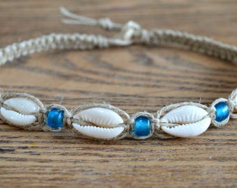 Hemp Necklace with Cowrie Shells and Aqua Blue Glass Beads