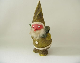 Vintage German candy container, santa, elf, gnome, figurine, glittered, cardboard, bobble head