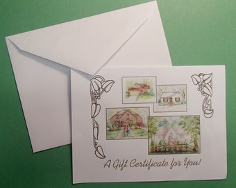"""Mother's Day Special!  Gift Certificate for 11"""" x !4"""" House Portrait"""