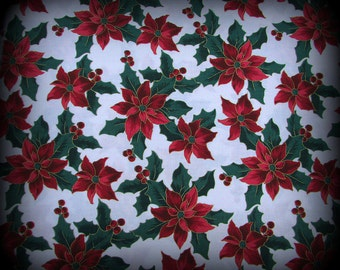 Christmas Fabric, Poinsettia on White, Poinsettia Fabric, 18 x 36 inches, Red Poinsettia Fabric, Berries and Flowers, Calico Material, Cotto