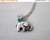 Holiday Sale Personalized Initial Birthstones Elephant Necklace. baby elephant necklace