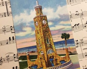 Vintage Florida Postcard Linen Unused Clock Tower Boardwalk Park Daytona Beach 1940s Collector Ephemera Paper