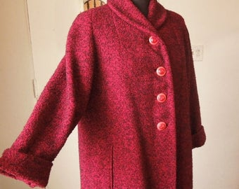 Vintage 50's Coat, Red Winter Coat, Size Small to Medium 50's Coat, Black Tweed Flecked, Rockabilly Style, Long Coat