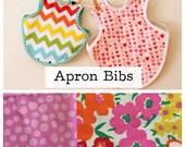 Vintage-Style Bib Apron/Bapron/ Smock •Cotton & Flannel Reversible• fabric as shown
