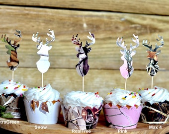 Realtree Camo Deer Silhouette Cupcake Toppers - XtraGreen, Snow, Realtree, Realtree Pink and Max 4 Camo