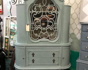 Vintage Duck egg china cabinet