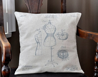Dress Form Patent Drawing Pillow Cover - 16x16