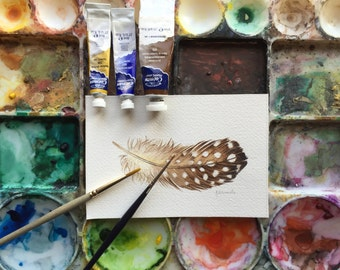 Brown Guinea Hen feather painting - original watercolour