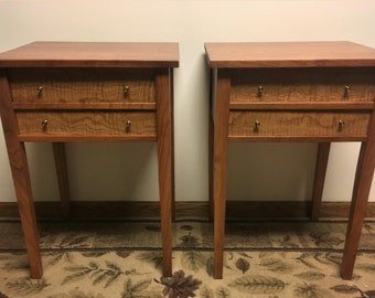 Cherry/ Curly White Oak Shaker Night Stands, Matched Pair