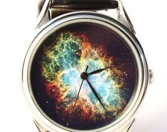 ON SALE 30% OFF Space Watch, Vintage style leather watch, Women Watches, Boyfriend Watch, Men's watch, silver case,