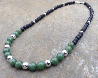 Green Aventurine and Lava Rock necklace with sterling silver beads - ease nausea and pain