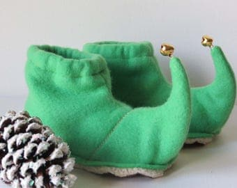 Jingling Elf Slippers: Toddler and Child Elf Shoes - Green