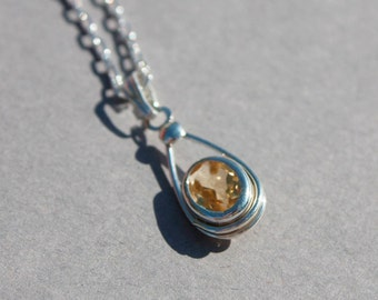 Citrine birthstone pendant, November birthstone necklace.