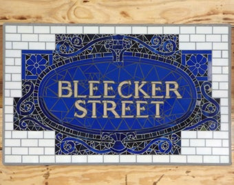 NYC Subway Mosaic Glass Sign for Indoor/ Outdoor or Install - BLEECKER ST