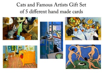 Blank Cards, Cat Lover Gift, Handmade Note Cards, Notecard Set (5), Assorted Greeting Cards, Deborah Julian