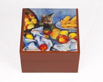Keepsake Box, Cat Art, Cat Lover Gift, Tabby Cat, Memory Box, Cat Artwork, Cézanne, Parody, Pet Memorial, Deborah Julian
