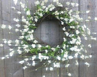 "Twig wreath with white flowers, wedding wreath, 20"""