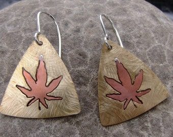 Cannabis leaf - pot leaf -  Copper - Brass - Earrings