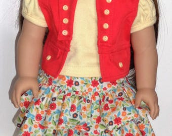 18-Inch Doll Clothes - Detailed Vest, Ruffled Skirt And T-Shirt For Dolls Such As American Girl