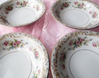 Vintage Noritake Dessert Bowls Somerset Pink Blue Floral Set of Four