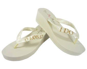 Gold & Ivory Glitter and Ivory or White I Do Wedding Date Wedge Flip Flops for the Bride