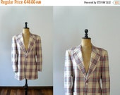 CLOSING SHOP 50% SALE / Vintage mens blazer. 1970s plaid blazer. Mens deadstock 70s jacket