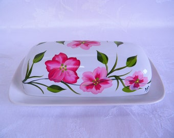 Butter dish, painted butter dish, floral butter dish, butter dish with pink flowers, serving dish, kitchen decor, hand painted serving dish