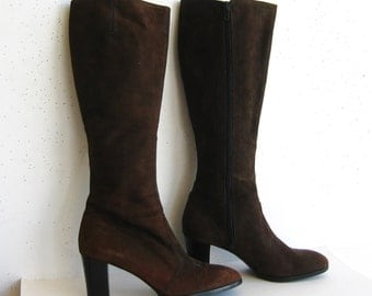 Vintage 60s 70s Amalfi Brown Italian Suede Leather Zip Up High Heel Mod Boots 8 1/2 N