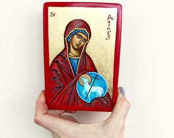 Saint Agnes of Rome, original handpainted icon, 5 1/2 by 4 inches
