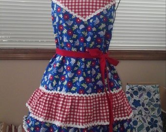 Red, white, and blue,fun and flirty apron