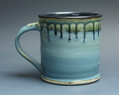 Handmade pottery coffee mug stoneware teacup glossy medium blue 14 oz 3620