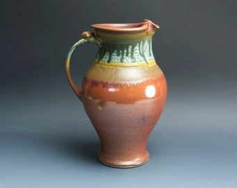Handcrafted pottery pitcher, stoneware vase 2 qt. iron red 3584