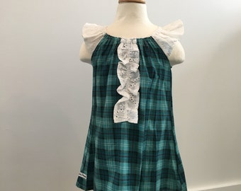 Toddler Ruffle dress: Ruffle tunic, Grow with me Tunic, Peasant Dress in plaid, Ready to ship