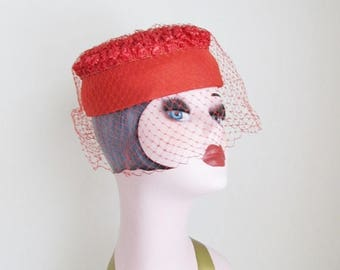 40% OFF SALE Vintage 1950's Red Halo Pillbox Hat / Netted Veil Formal Classy Ladies Hat