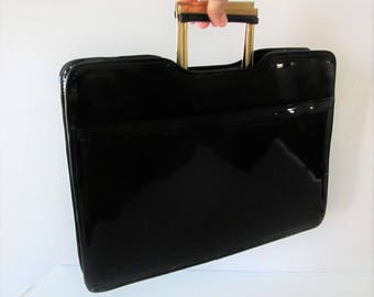 Vintage 1960's Black Patent Shiny Briefcase Purse / Bright Red Interior Large Tote Business Woman's Handbag