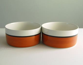 2 Gustavsberg Arena Swedish Ceramic Large Round Serving Bowls by Stig Lindberg 1970s Modern