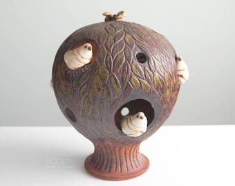 Vintage Tree of Life with Birds Studio Pottery Stoneware Candle Globe Mid Century Modern
